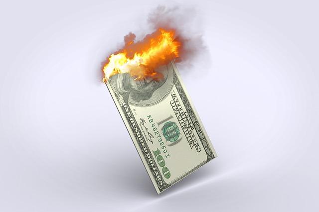 hořící dolar